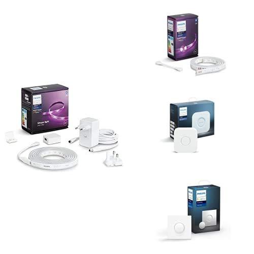 Philips Hue Lightstrip Tira Inteligente LED 2m, con Bluetooth + Lightstrip Tira Inteligente LED 1m + Puente de Conexión Controlable vía WiFi, Iluminación Inteligente + Interruptor Smart Button