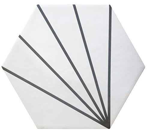 Nais - Baldosas cerámicas para suelos y paredes de interior - Colección Hexatile - Color Abanico White (17,5x20 cm) - Caja de 0,71 m2 (25 piezas)