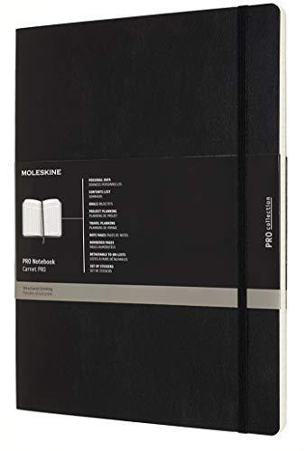 "Moleskine PRO Notebook, Soft Cover, XXL (8.5"" x 11"") Professional Project Planning, Black, 192 Pages"