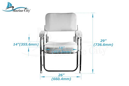 MARINE CITY Stainless Steel Portable Folding Cushioned Boat Deck Beach Chair
