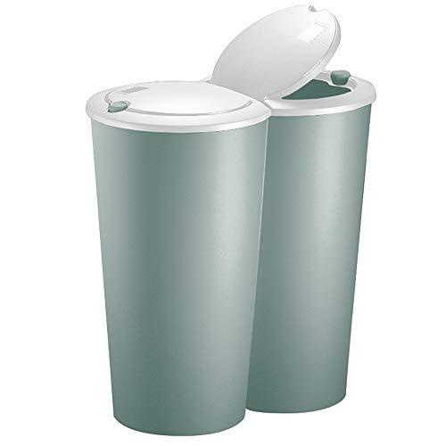 Deuba Mülleimer Duo grün | 50L Abfalleimer Doppelmülleimer 2fach Trennsystem Druckknopf-Automatik | Küche Bad Büro
