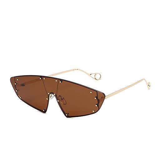 NXMRN Sonnenbrille Vintage Cat Eye Randlose Sonnenbrille Frauen Sonnenbrille Männer Shades Punk Niet Einem Stück Rihanna Brillen-Tea