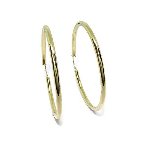 Pendientes aros de oro amarillo de 18Ktes de 3mm de ancho por 5.5cm de diámetro exterior.
