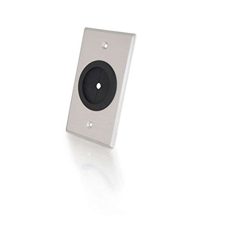 C2G Grommet Wall Plate - Brushed Aluminum Plate With 1.5