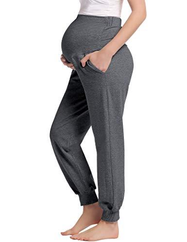 Joyaria Damen Umstands Hose Über den Bauch Schwangere/Schwangerschaft Jogginghose Lang Weich Viskose(Dunkelgrau,M)
