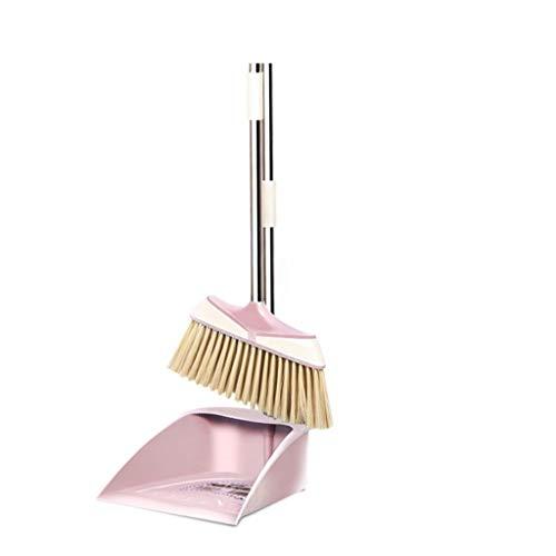 XuYuanjiaShop Haushaltsreinigungsgeräte Komfortable Edelstahl Langstiel Besen Set Feste Halterung Besen und Schaufel (Color : Pink-A)