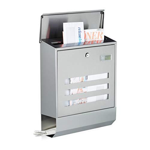 Relaxdays Briefkasten Edelstahl mit Zeitungsfach, Namensschild, HxBxT: 42 x 35 x 12,5 cm, Postkasten, Design, silber