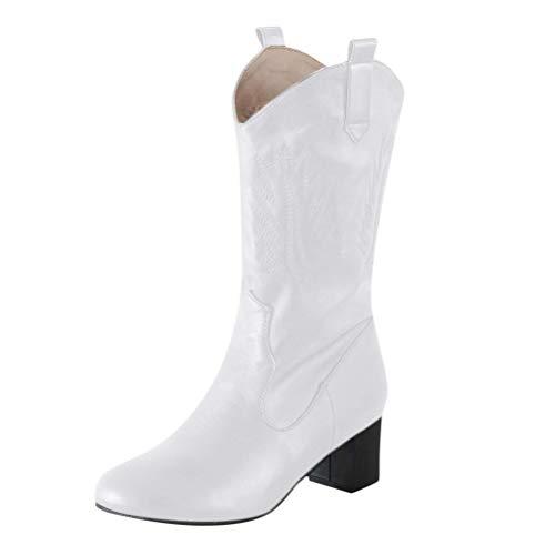 ORANDESIGNE Damen Westernstiefel Halbhohe Cowboy Stiefel Damen Stiefeletten mit Blockabsatz Ankle Boots Biker Boots Cowgirl Spitz Zehen Halbhohe Stiefel Weiß 40 EU
