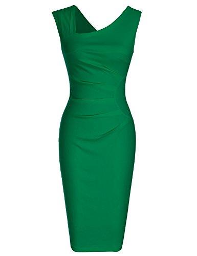 MUXXN Lady Celebrity Halloween Style Tea Length Evening Cocktail Bodycon Dress (Green M)