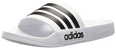 adidas Men's Adilette Shower Slide Sandal, Black/White, 11 M US by ADIJE