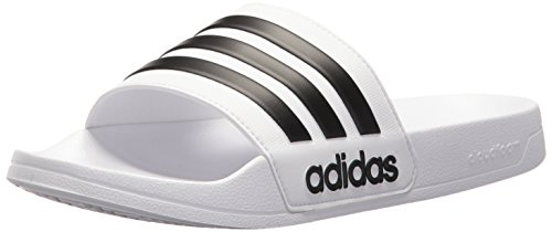 adidas Men's Adilette Shower Slide Sandal, Black/White, 12 M US