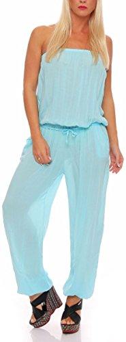 Malito Damen Einteiler in Uni Farben | Overall mit Stoffgürtel | Jumpsuit - Hosenanzug - Romper 4538 (türkis)