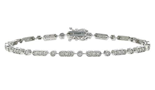 1 cttw Diamond Station Bracelet In 14K White Gold