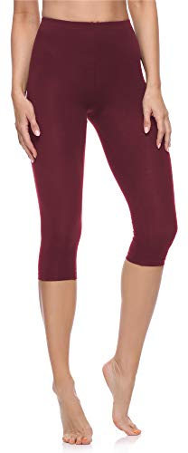 Merry Style Damen 3/4 Leggings aus Baumwolle MS10-199 (Weinrot, XXL)