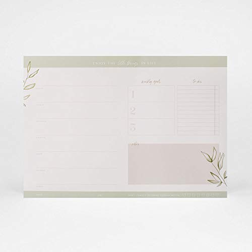 """JO & JUDY Schreibtischunterlage""""Natural"""" - beschriftbare Schreibunterlage für Notizen - 46,5 x 32 cm, Weiß"""