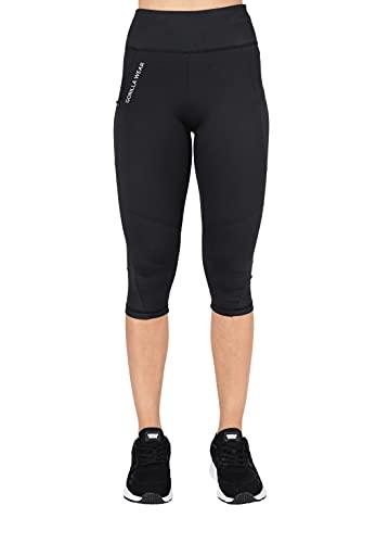 Gorilla Wear - Monroe Cropped Leggings - Schwarz - Bodybuilding Fitness Sport Freizeit Damen Hose lang Blickdicht Yoga Joggen Laufen aus Polyester und Elasthan, S