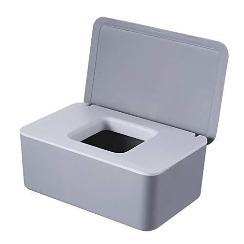 WYDMBH Caja de Tejido Mojado Sello de Escritorio Toallitas Papel Caja de Almacenamiento Dispensador Tapa Tapa (Color : Gray)
