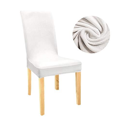 Zxxin-Stuhlhussen Samt Stretch Dining Slipcovers Feste Farbe Spandex-Plüsch-Stuhlabdeckungen Protector, für Heim-Esszimmer, hohe Qualität (Color : White, Specification : Universal)