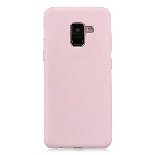 cuzz Funda para Samsung Galaxy A8 2018+{Protector de Pantalla de Vidrio Templado} Carcasa Silicona Suave Gel Rasguño y Resistente Teléfono Móvil Cover-Rosa Claro
