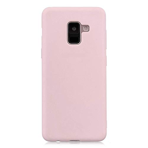 cuzz Custodia Samsung Galaxy A6 Plus+{Film di Vetro temperato}Silicone TPU Cover Morbida Protettiva Custodia Ultra Sottile Leggero Cover-Rosa Chiaro