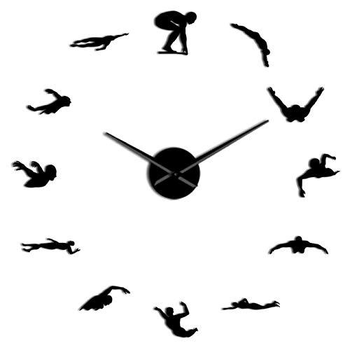 xinxin Reloj de Pared Natación Deporte 3D DIY Reloj de Pared Nadador Superficie del Espejo Reloj de Barrido silencioso Reloj Atleta Moda Decoración del hogar