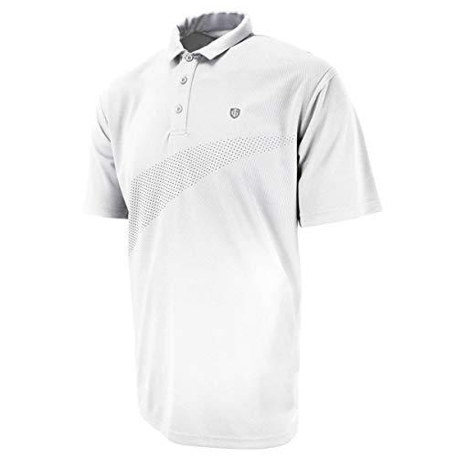 Island Green Mens Golf Chest Print Breathable Moisture Wicking Flexible Polo Shirt WhiteBlack XL