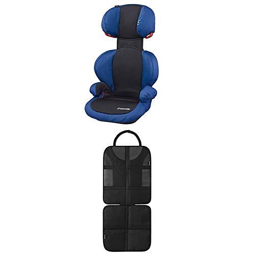 Maxi-Cosi Rodi SPS Kindersitz, mitwachsender Gruppe 2/3 Autositz (15-36 kg), nutzbar ab 3,5 bis 12 Jahre, navy black + Rücksitzschoner (schnell und einfach zu montieren) schwarz