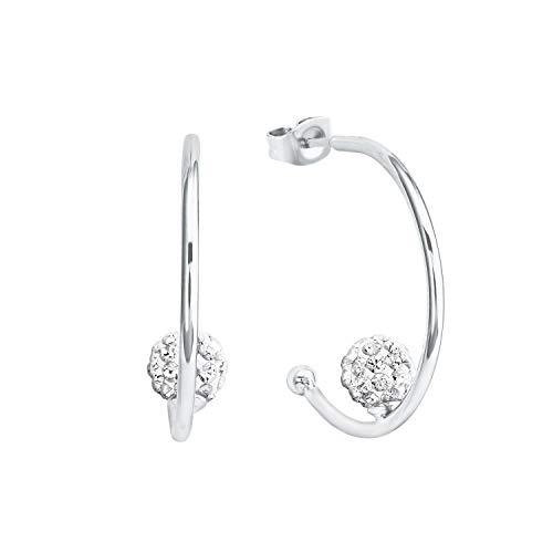 Amor - Pendientes de aro para mujer con diseño de bola, plata brillante 925, circonita blanca