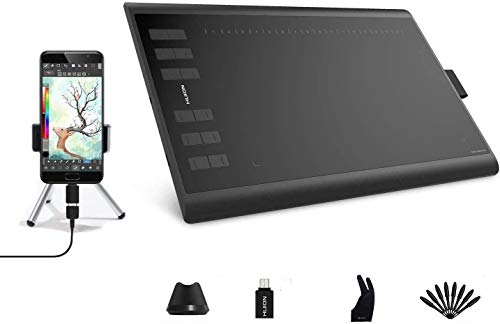 2019 NUEVA HUION Inspiroy H1060P Tableta Gráfica de Dibujo, 10X6.25 pulgadas Tableta Gráfica, lápiz sin Batería, Función de inclinación de ±60°, Tableta Gráfica compatible con Windows, Mac OS, Android