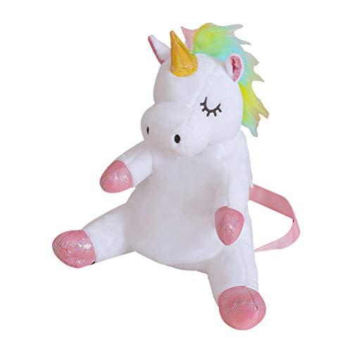 Lurrose Rainbow Unicorn Backpack Cartoon Change Purse Coin Pocket Decorative Plush Toy Plush Soft White School Bag for Little Girls Kids