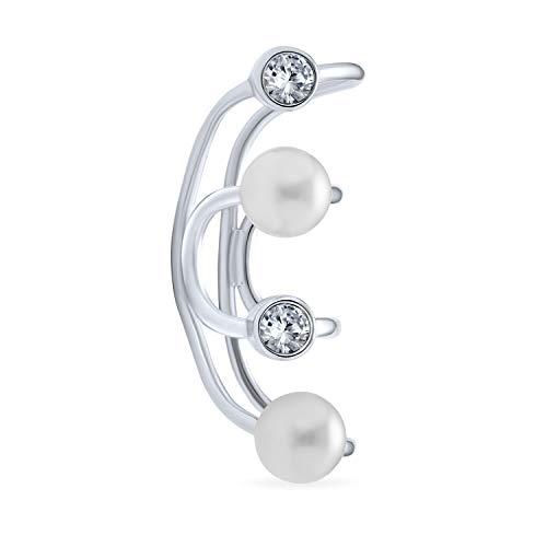 Geometrische Spiraldraht Kristall Weiß Simuliert Perle Knorpel Ohr Manschette Wickeln Helix Ohrring Für Frauen 925 Sterling Silber
