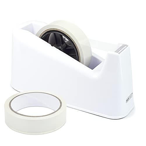Rapesco 1486 500 - Dispensador de Cinta Adhesiva Grande con 2 Rollos, Blanco
