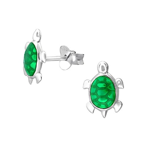 Laimons Mädchen Kids Kinder-Ohrstecker Ohrringe Kinderschmuck Schildkröte Tier grün glanz aus Sterling Silber 925