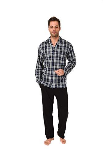 Trend by Normann Herren Pyjama lang durchgeknöpft Karo Single Jersey in Übergrössen - 61710, Farbe:schwarz, Größe2:70