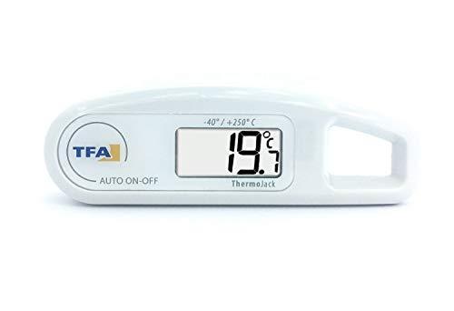 TFA Dostmann Thermo Jack digitales Einstichthermometer, 30.1047.02, Temperaturkontrolle von Lebensmittel, abwaschbar