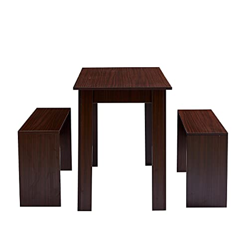 3 -Piece Dining Room Set Wooden Dining Table and 2 Benches Set Oak Kitchen Furniture for Small Space 4 People Timber Garden Table Set (Dark walnut)