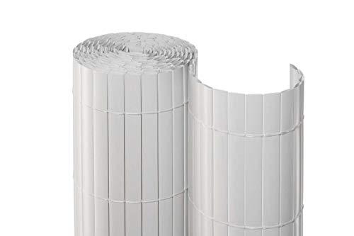 bambus-discount.com Sichtschutz für Balkon Berlin, PVC eco Modell 90 x 300cm, Weiss