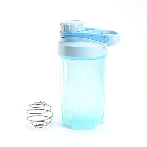 CVBN 500ML Protable Batido de proteína en Polvo Agitador Botella de Agua Hervidor Deportivo, Azul
