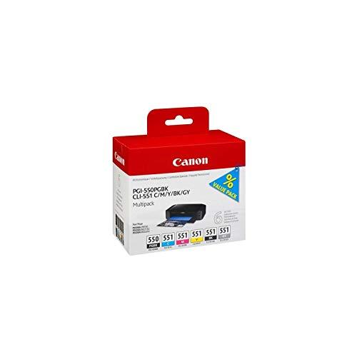 Canon PGI-550/CLI-551 Cartouches PGBK/C/M/Y/BK/GY Multipack Noire Pigmenté, Cyan, Magenta, Jaune, Noir, Gris (Multipack plastique)
