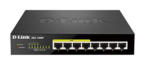 D-Link DGS-1008P Switch 8 Ports Gigabit POE 10/100/1000mbps - Idéal Partage de Connexion et Mise en Réseau Small/Home Office