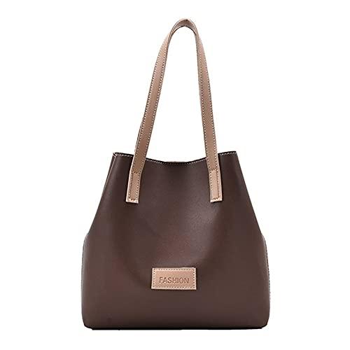Bolsos de hombro de piel sintética para mujer, bolsos de hombro de moda femenina, gran capacidad, color sólido Totes (color: café, tamaño: 26 x 9 x 25 cm)