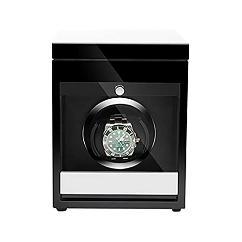 Enrolladores de relojes - Caja de almacenamiento de relojes de madera Enrollador de relojes inteligentes con luz LED Reloj mecánico Agitador automático con control de acceso Caja de bobinado de