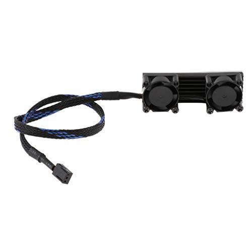 MagiDeal PCIE M.2 SSD 2280 3 Pines Dual Ventilador de Refrigeración Activo Disipador de Calor Radiador Aleta Negro