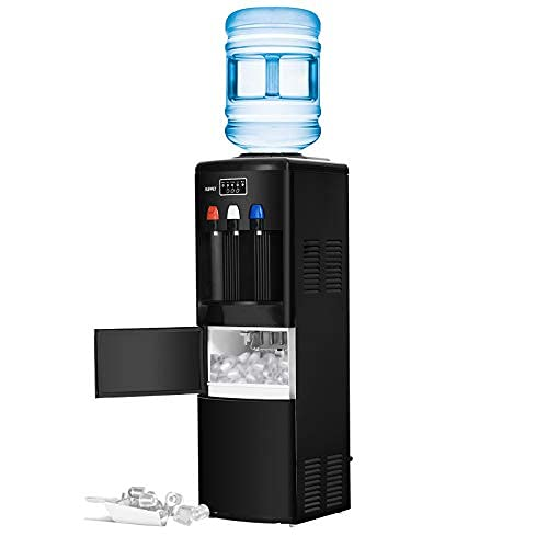 2 in 1 Water Dispenser with Built-in Ice Maker Machine/Electric Hot Cold Water Cooler with Child Security Lock (Black)