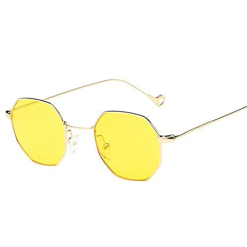 Kafe Sonnenbrillen , Loveso Unisex Beliebte Klassische Unregelmäßige Octagon Metallrahmen Sonnenbrille (10 Farben zu wählen) (Gelb)