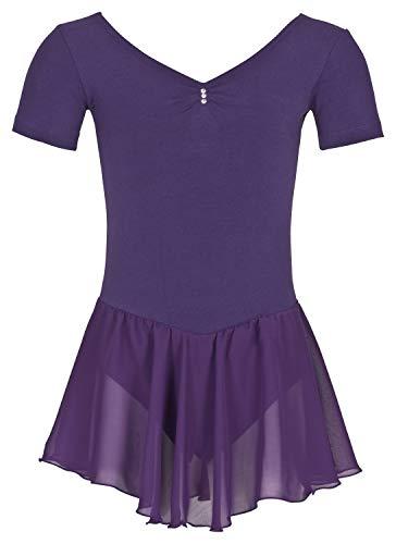 tanzmuster ® Ballettkleid Mädchen Kurzarm - Betty - aus Baumwolle mit Glitzersteinen und Chiffon Röckchen in lila, Größe:116/122