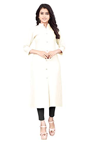 Dhruvi Trendz Women's Slub Reyon Straight Stitched Kurti (White, Large)