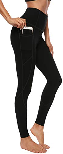 Persit Damen Yoga Leggings, Sport Tights Leggins Yogahose Sporthose für Damen, L, Schwarz