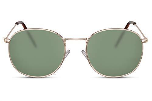 Cheapass Sonnenbrille Rund Gold Grün Getönt UV-400 Oval John-Lennon Designer-Brille Hipster Metall Herren Damen