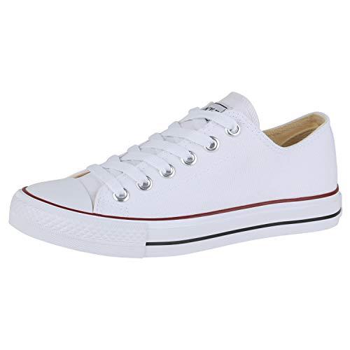 SCARPE VITA Damen Sneaker Low Basic Canvas Turnschuhe Schnürer Bequeme Freizeit Schuhe Flats Stoff Schnürschuhe 172902 Weiss Rotstreifen Total 41
